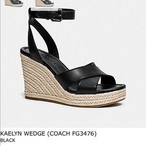 Coach Kaelyn leather wedge sandals